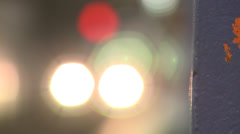 Mesmerising soft focus coloured lights on oncoming subway train - stock footage