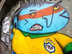 Anti-World Cup Street Art Protest in Sao Paulo, Brazil Stock Photos