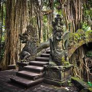 Dragon Bridge at Monkey Forest Sanctuary in Ubud, Bali, Indonesia Stock Photos
