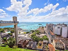 Lacerda Elevator and All Saints Bay in Salvador, Bahia, Brazil Stock Photos