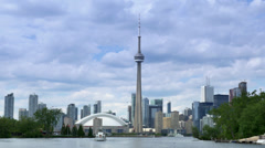 4K Toronto Skyline from Lake Ontario with CN Tower and Skydome Stock Footage