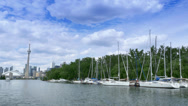 Stock Video Footage of 4K Marina on Toronto Island with CN Tower in Background