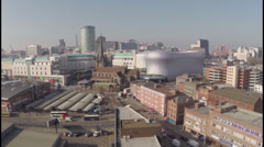Stock Video Footage of Aerial Video clip of Bullring and East side of Birmingham UK