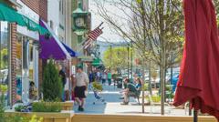 Bustling Sidewalk Scene on Main Street Hendersonville NC Stock Footage