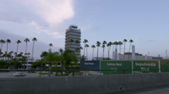 Palm Trees viewed from Freeway in Los Angeles, California Stock Footage