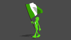 Nigeria National Flag Carried By Character Walk Stock Footage