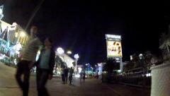 Camera Rolling Sidewalk Outside Mirage Casino- Las Vegas NV- Night Stock Footage