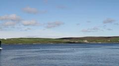 Boats in Bressay Sound Lerwick, Shetland, Scotland Stock Footage