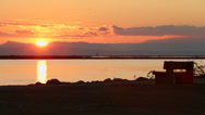 Fraser River Sunset Walk, Steveston Stock Footage