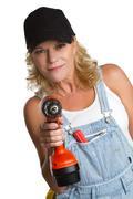 power tools woman - stock photo