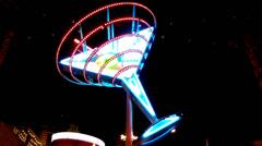 Giant Neon Martini Glass- Fremont Street- Las Vegas Nevada Stock Footage