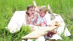 Family on summer picninc in the countryside. - stock footage