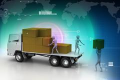 Stock Illustration of transportation trucks in freight delivery