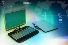 Computer bag with laptop Stock Illustration