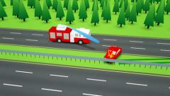 Firetruck arriving at car crash on highway. Stock Footage