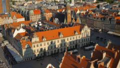 Aerial view of Wroclaw old town square, Poland Stock Footage