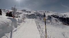Pan view Riffelalp alpine ski paradise at Matterhorn Stock Footage