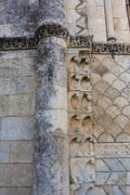 beautiful romanesque column in rioux - stock photo
