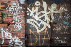Graffiti on Building in New York City NYC Hip Hop Stock Photos