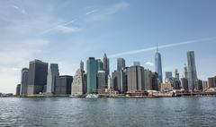 Manhattan Skyline with Freedom Tower in New York City Stock Photos