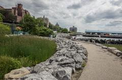 Stone Path in Brooklyn Bridge Park in New York City - stock photo