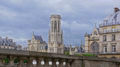 France, Paris, clouds over basilica Saint Germain l'Auxerrois, time-lapse. Stock Footage