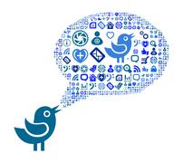 Icon group as speech bubble cloud - stock illustration