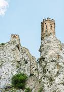 maiden tower of devin castle, slovak republic - stock photo