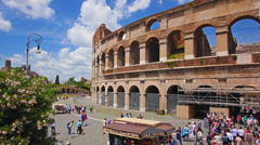 Rome, Italy, Colosseum view at sunny day, sky and clouds, time-lapse. Stock Footage