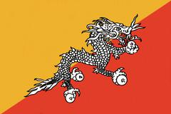 Bhutan flag drawing by pastel on charcoal paper Stock Illustration