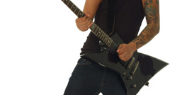 Closeup guitarist playing electric guitar on white Stock Footage