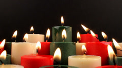 Serene Lit Burning Candles Pools Of Melting Wax Stock Footage