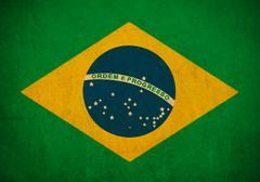 brazil flag drawing ,grunge and retro flag series - stock illustration