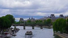 France, Paris, river Seine and Bridge of Arts, Pont des Arts, time-lapse. Stock Footage