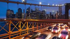 Brooklyn bridge car traffic light timelapse - New York - USA Stock Footage