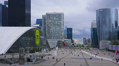 France, Paris, modern buildings in business district  Defence, time-lapse, Stock Footage