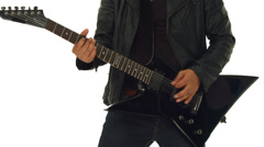 Detail guitarist playing black e guitar isolated on white Stock Footage