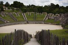 ruins of roman amphitheater - stock photo