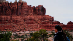 Hiking arches national park Stock Footage