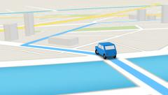 Overhead view of car following GPS route. Stock Footage