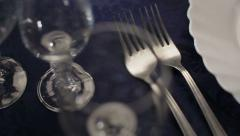 Beautiful holiday dinner table setting Stock Footage