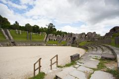 Ruins of roman amphitheater Stock Photos