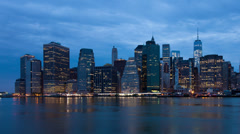 4k Sunrise timelapse of Manhattan skyline in new york - USA - stock footage