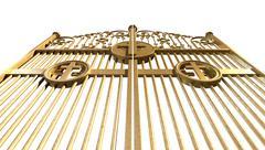heavens golden gates isolated - stock illustration