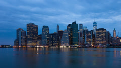 4k Sunrise timelapse of Manhattan skyline in new york - USA Stock Footage