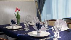 Beautiful holiday dinner table setting 3 Stock Footage