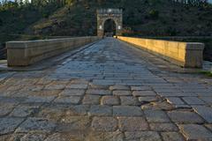 Roman bridge of alcantara Stock Photos