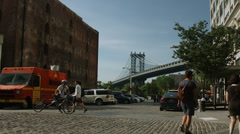 Sunny day in DUMBO. Cobblestone streets in Brooklyn. Summer in Brooklyn. - stock footage