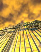 Stock Illustration of heavens golden gates and yellow sky
