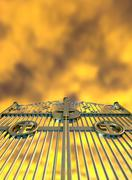 heavens golden gates and yellow sky - stock illustration